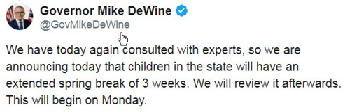 Gov. DeWine closes school for three weeks