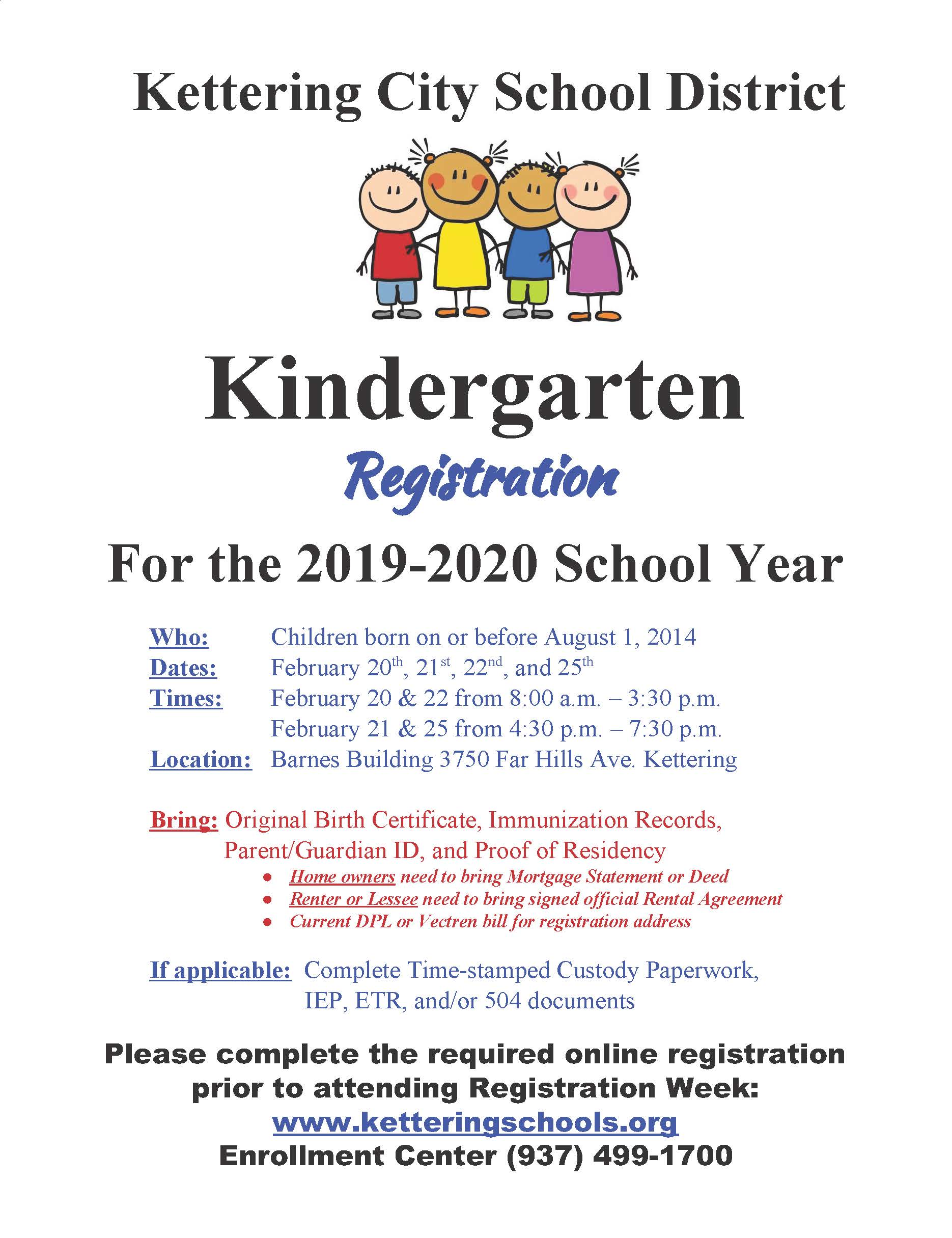 2019-2020 Kindergarten Registration is February 20-22, and February 25