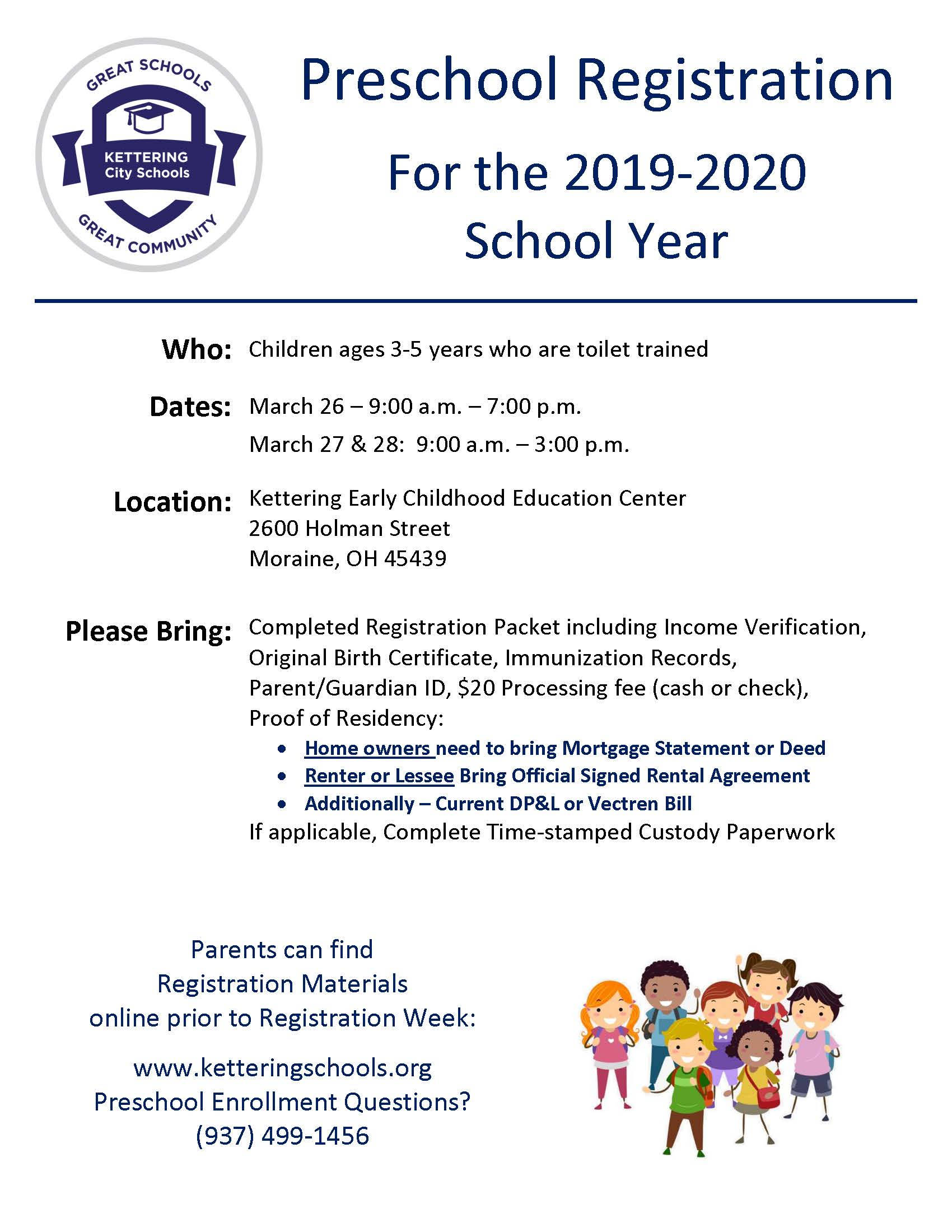 Preschool Registration set for March 26 and 27