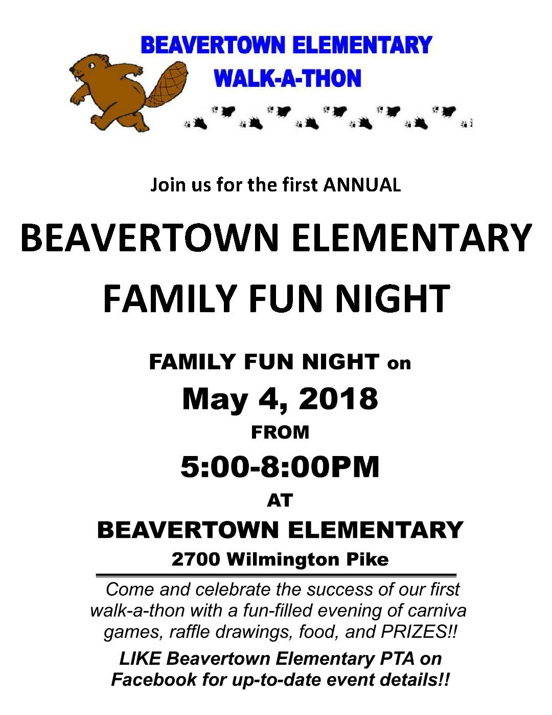 Beavertown Elementary Family Fun Night is Friday, May 4