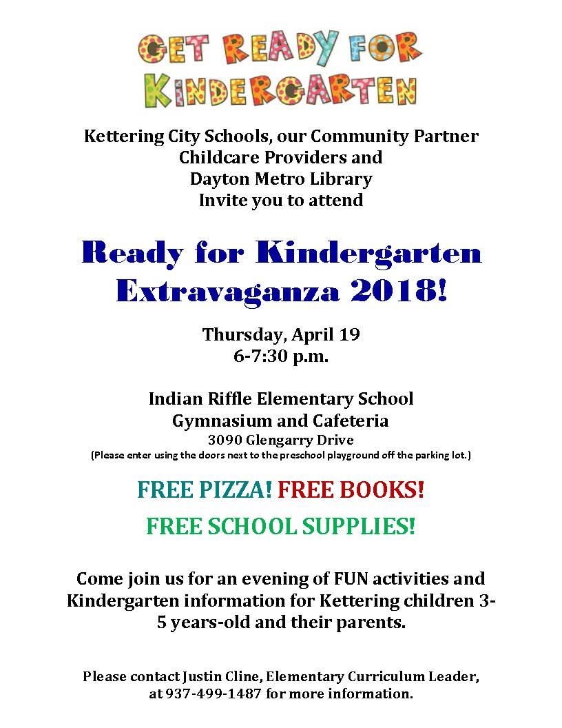 Get Ready for Kindergarten Extravaganza! April 19, 6-7:30 p.m.