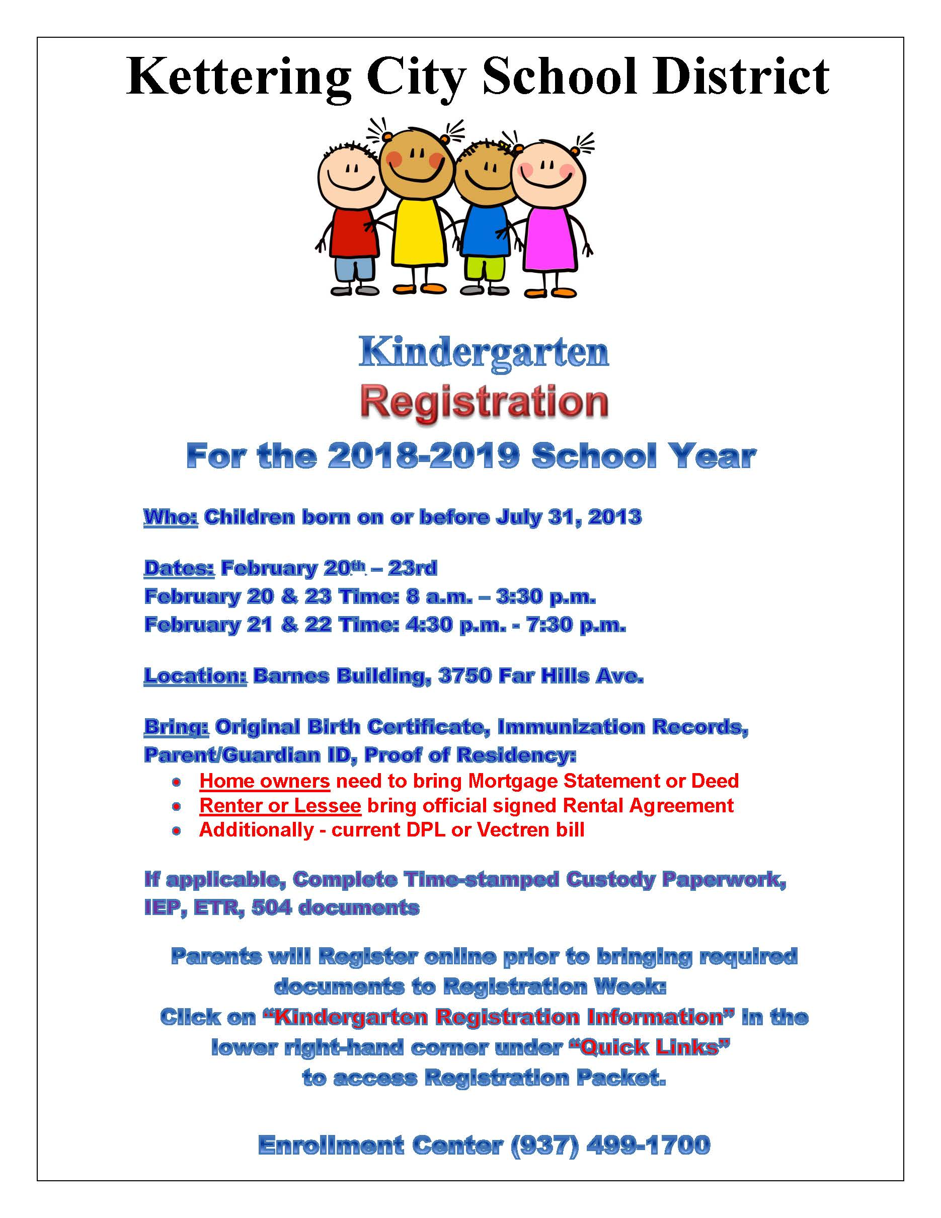Kindergarten Registration 2018-19 - February 20-23