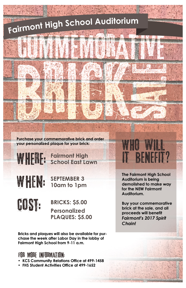 Commemorative Brick Sale -- September 3, 10 a.m. to 1 p.m.