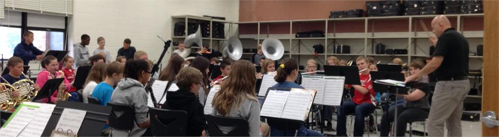 Dan Nicora leads a Band Class at Van Buren Middle School