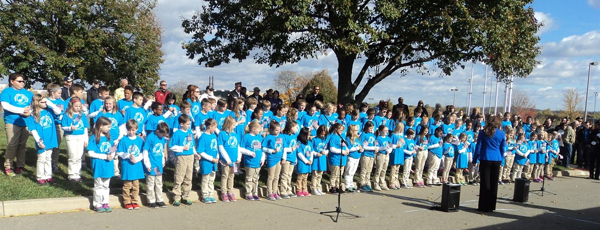 "Indian Riffle's Firebird Chorus Sings ""God Bless America"" at the Dedication of the Veteran's and Inventors Walk at Delco Park"