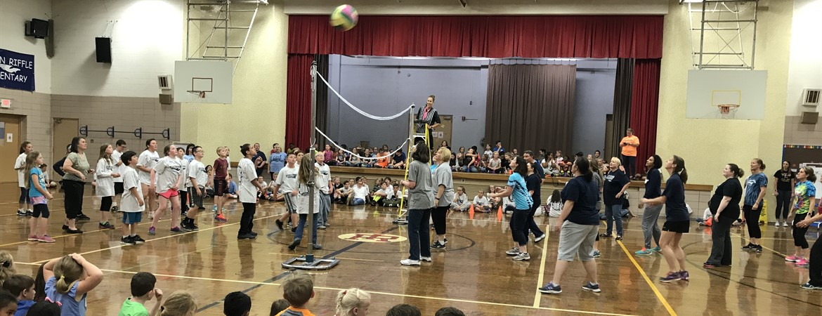 Staff Versus Fifth Graders Volleyball Game