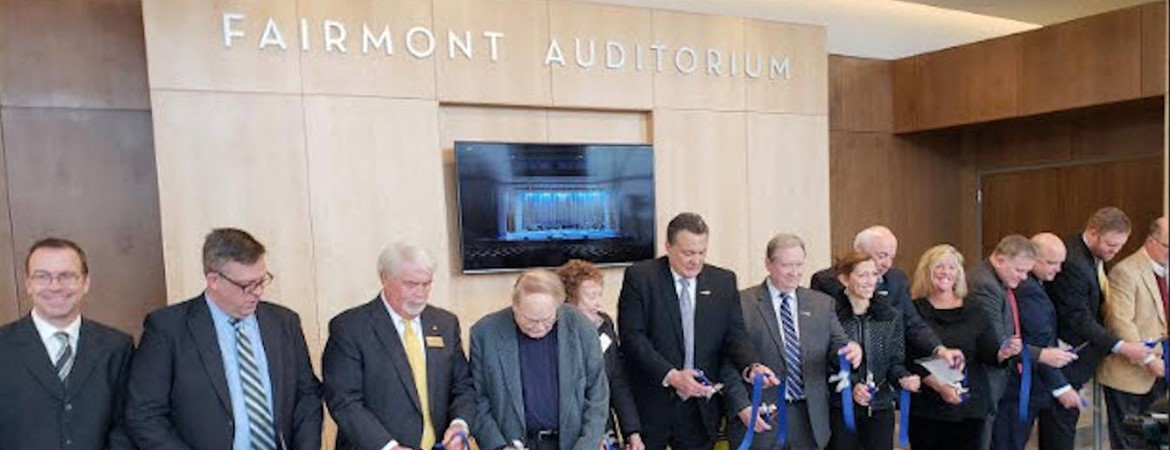 School Board members, administrators, city officials and reps from Ruetschle Architect and Shook Touchstone helped open the new Fairmont Auditorium by participating in the Ribbon-Cutting Ceremony on March 8.
