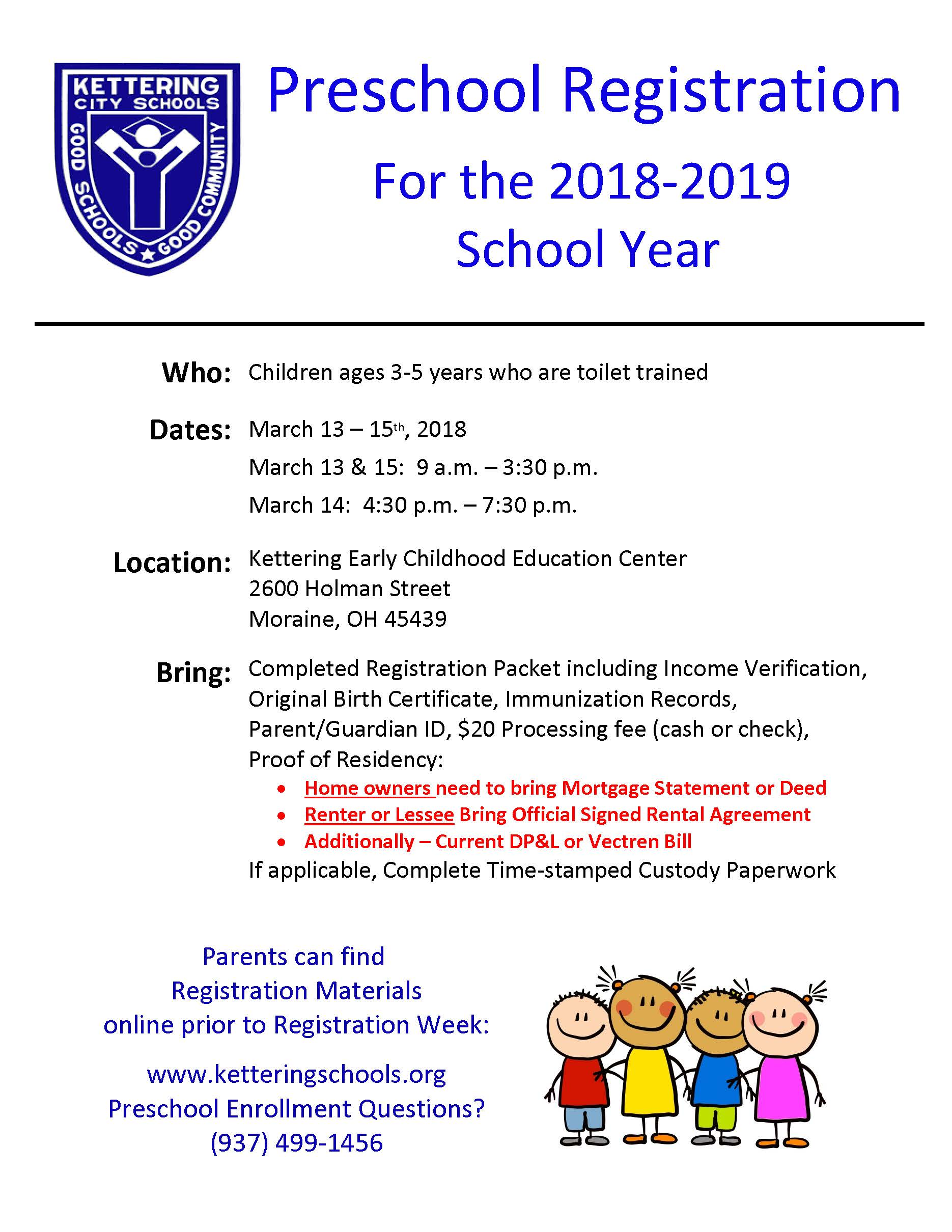 Preschool registration for 2018 19 school year set for march 13 15 kettering city school district integrated preschool program 1betcityfo Image collections